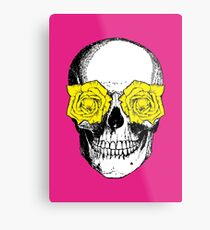 Skull and Roses | Pink and Yellow Metal Print