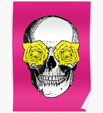 Skull and Roses   Pink and Yellow Poster