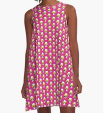 Skull and Roses | Pink and Yellow A-Line Dress