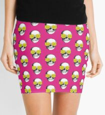 Skull and Roses | Pink and Yellow Mini Skirt