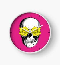 Skull and Roses | Pink and Yellow Clock