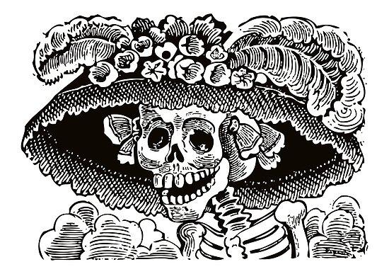 Pósters Calavera Catrina Blanco Y Negro Día De Los Muertos
