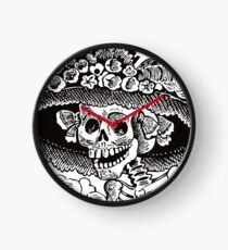 Calavera Catrina | Black and White | Day of the Dead | Dia de los Muertos Clock