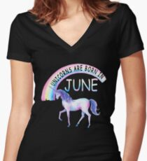 Unicorns Are Born In June Cute Dreaming  Graphic Summer Gift T-shirt Women's Fitted V-Neck T-Shirt