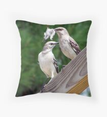 two mockingbirds Throw Pillow
