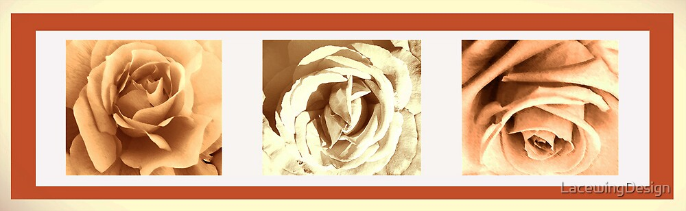 SEPIA COLLECTION ~ SEPIA ROSE TRIPTYCH ~ MIXED MEDIA by LacewingDesign