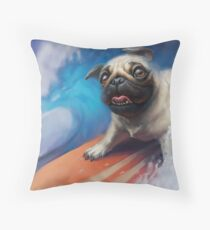 Puppy Pug Surfing Painting Throw Pillow