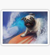 Puppy Pug Surfing Painting Sticker
