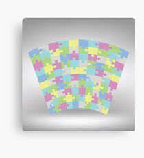 Colored puzzle texture on grey gradient background Canvas Print