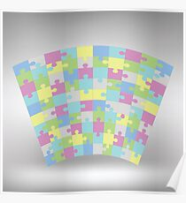 Colored puzzle texture on grey gradient background Poster