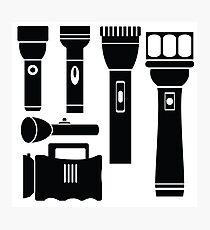 illustration  with flashlight silhouettes set  on white background Photographic Print