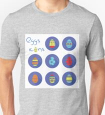 colorful illustration  with eggs icons on white background Unisex T-Shirt