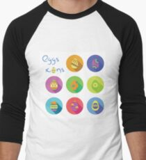 colorful illustration  with eggs icons on white background Men's Baseball ¾ T-Shirt