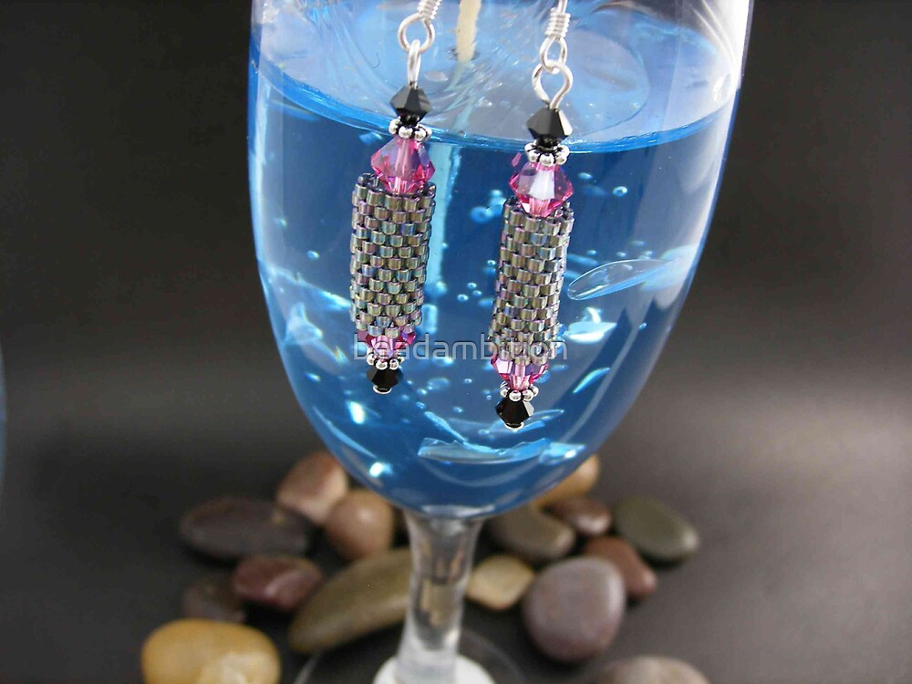 Earrings on Glass by beadambition