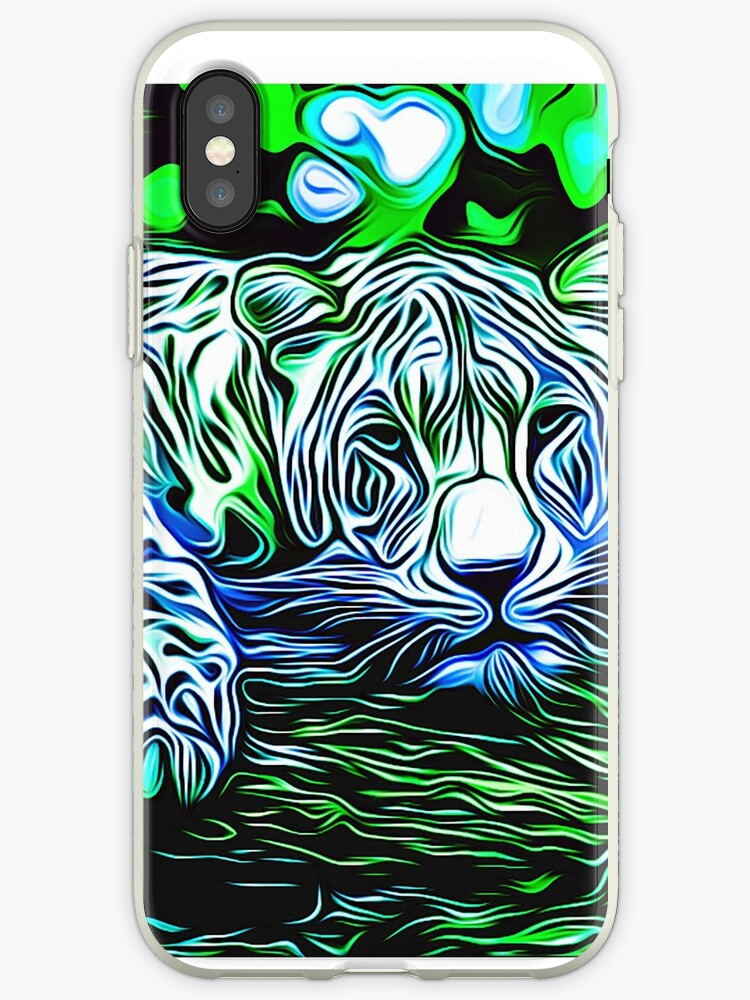 'leopard print high quality trippy nature wild life big cats psychedelic  graffiti' iPhone Case by mrilladesigns