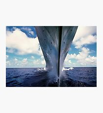 A water-level bow view of the battleship USS Missouri. Photographic Print