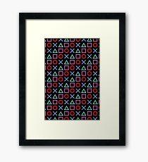 Gamer Pattern Black Framed Print