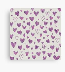 Water Colour Heart Pattern Canvas Print