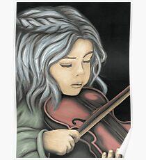fillette au violon Poster