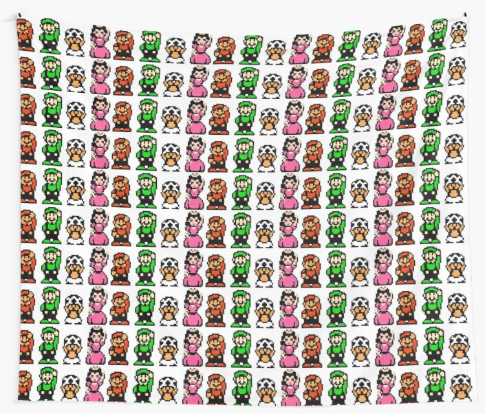 Super Mario Bros 2 Characters Wall Tapestries By Scammell Design
