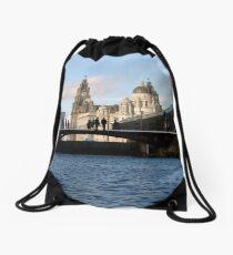Liverpool Pier Head from Albert Dock Drawstring Bag