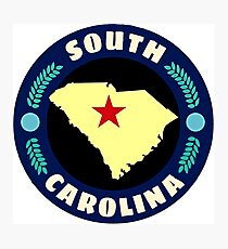 South Carolina state, travel rounded sticker Photographic Print