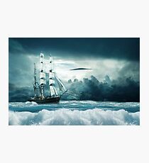Blue Ocean Ship Storm Clouds Photographic Print