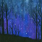 Still of the Night, Night Sky Landscape Painting Stars by ItayaArt