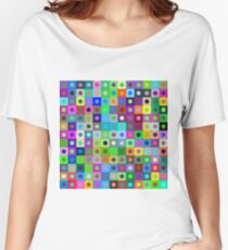 Bright vector background of circles and rounded squares. Women's Relaxed Fit T-Shirt