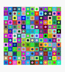 Bright vector background of circles and rounded squares. Photographic Print