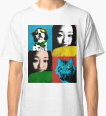 BEAUTIFUL FUNNY ASIAN GIRL, CAT AND DOG POP ART COLOR Classic T-Shirt