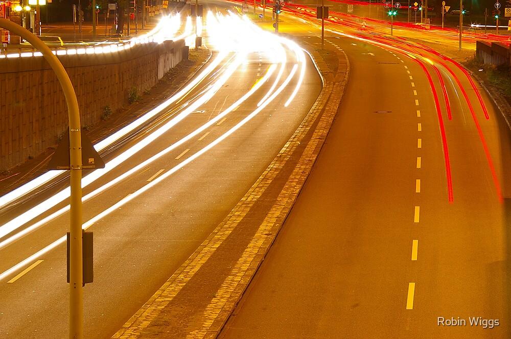 Autobahn, night by Robin Wiggs