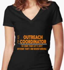 OUTREACH COORDINATOR Women's Fitted V-Neck T-Shirt