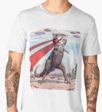 T Rex Cat with Laser Eyes T Shirt | Funny Epic UFO Meme Tee Men's Premium T-Shirt