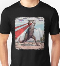 T Rex Cat with Laser Eyes T Shirt | Funny Epic UFO Meme Tee T-Shirt