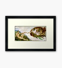 The Creation of Adam Painting by Michelangelo Sistine Chapel Framed Print