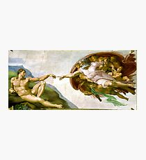 The Creation of Adam Painting by Michelangelo Sistine Chapel Photographic Print