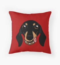 Say hi to the cute Dachshund your short-legged doggie friend Throw Pillow