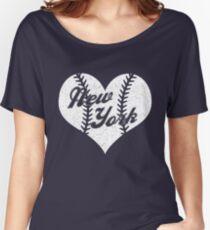 New York Yankees Baseball Heart  Women's Relaxed Fit T-Shirt