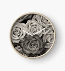 Black and White Rose Bouquet Clock