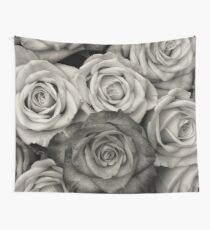 Black and White Rose Bouquet Wall Tapestry
