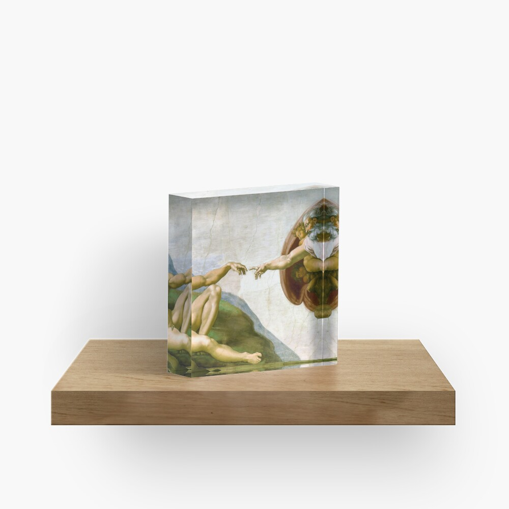 The Creation of Adam Painting by Michelangelo Sistine Chapel Acrylic Block