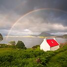 Applecross Red Roofed Cottage with Rainbows by derekbeattie
