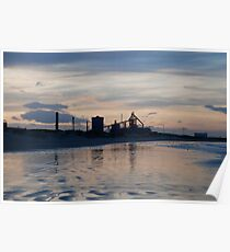 Redcar Steelworks from Coatham beach Poster