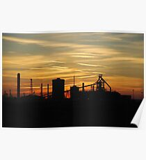 Redcar's Corus Iron works, from Coatham beach. Poster