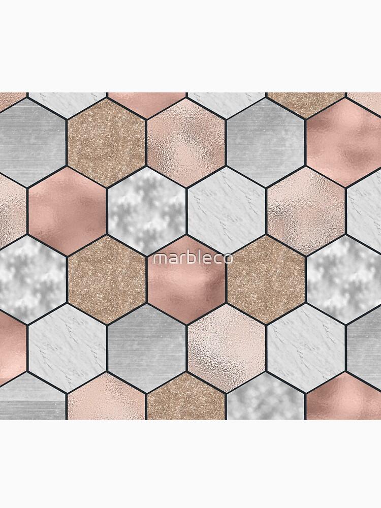 Hexágonos de mármol y oro rosa en negro de marbleco