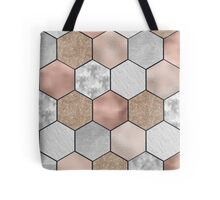 Quot Marble Hexagons And Rose Gold On Black Quot Throw Pillows By