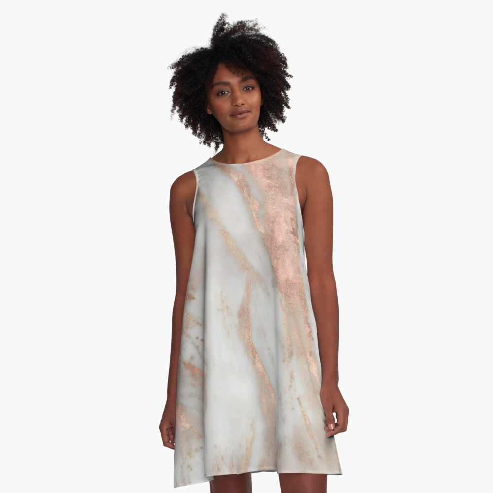 Civezza - rose gold marble A-Line Dress Front
