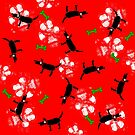 Dogs on Paws Red and Green by ArtwithDog