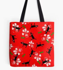 Dogs on Paws Red and Green Tote Bag